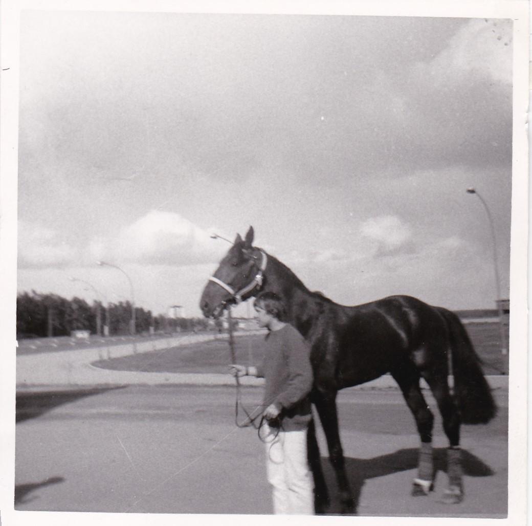 Författaren 1965 på Gävletravet. Hästen heter Marco Polo e Rebell-Joetta.